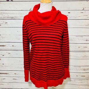 {RALPH LAUREN} Red Stripe Cowl Neck Sweater